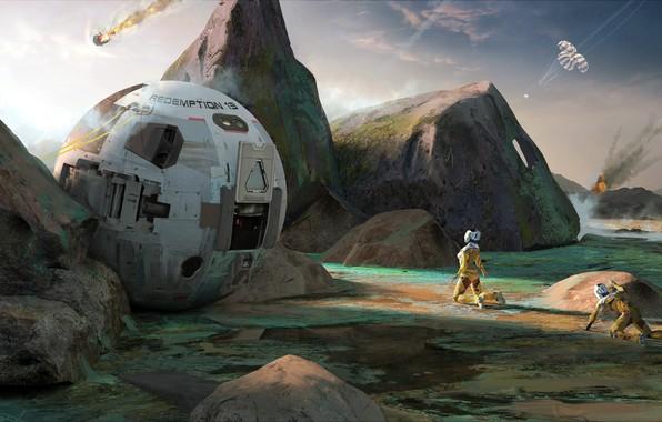 Картинка капсула, приземление, Adrian Marc, Rough touchdown on planet surface, First Alien Sunset