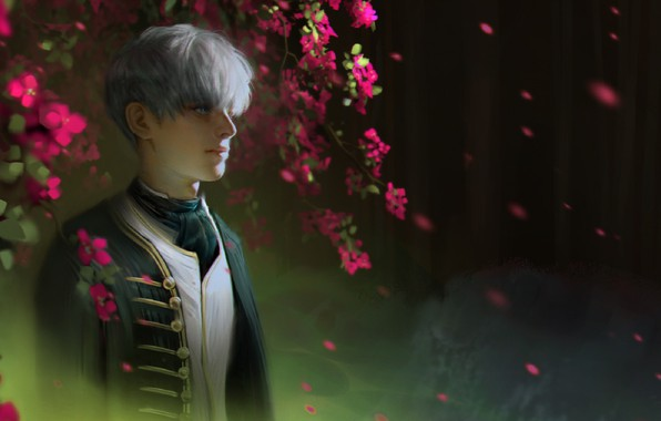 Картинка ветки, галстук, парень, белые волосы, военная форма, размытый задний фон, чёлка, цветение дерева, лепескти