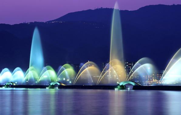 Картинка ночь, огни, Япония, фонтан, озеро Бива