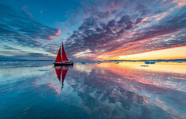 Картинка облака, краски, лодка, корабль, парусник, яхта, льды