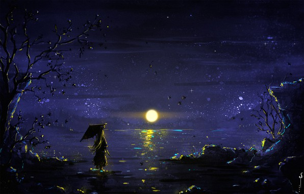 Картинка girl, Moon, sky, trees, umbrella, night, art, lake, stars, reflection, digital art, artwork, illustration, painting …