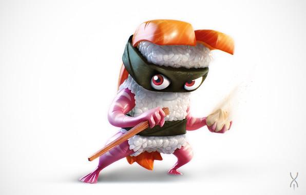 Картинка еда, арт, ниндзя, суши, хаси, Yan Morala, Sushi Ninja
