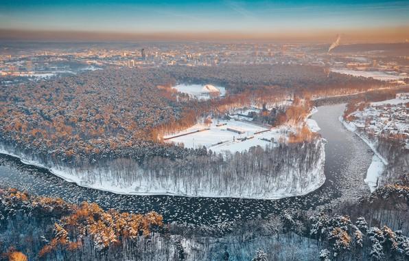 Картинка зима, утро, Lietuva, Vilnius, Neris