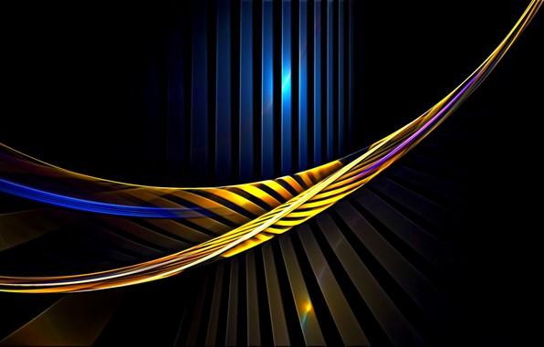 Картинка абстракция, рендеринг, обои, изгибы, черный фон, картинка, игра света, световые линии, заставка для рабочего стола, …