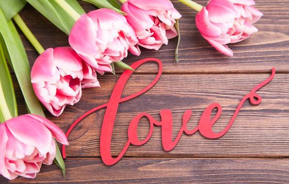 Картинка любовь, цветы, букет, тюльпаны, love, розовые, pink, flowers, beautiful, romantic, tulips, valentine's day, spring