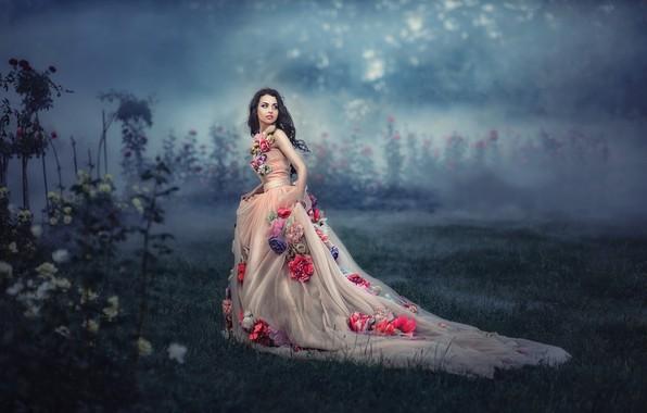 Картинка девушка, цветы, туман, платье, by Татьяна Невмержицкая, Полина Кнорр