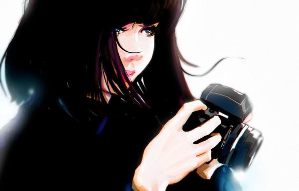 Картинка руки, фотоаппарат, голубые глаза, черные волосы, art, портрет девушки, Punksy