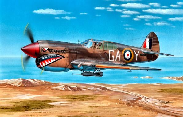 Картинка 1942, P-40E, Kittyhawk Mk.IA, Lybia, 112 Sqn, Clive ''Killer'' Caldwell, ''Shark'' Squadron, North Africa
