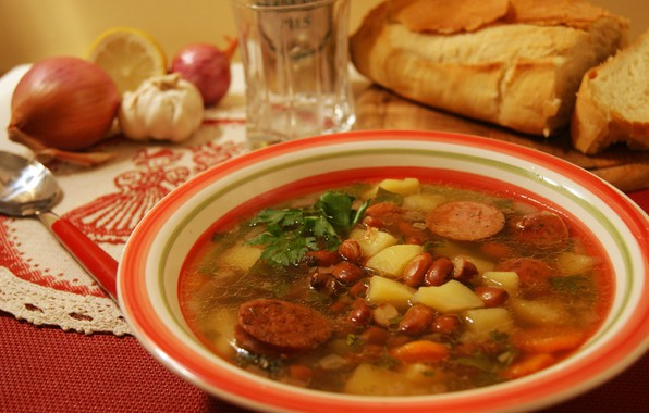 Картинка тарелка, аппетитная, фасоль, супа, суп харчо