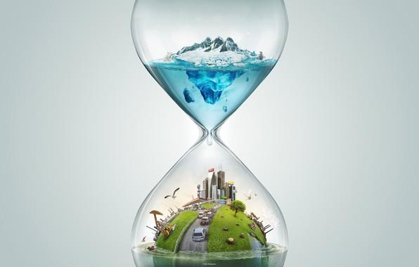 Картинка время, путешествия, рендеринг, песочные часы