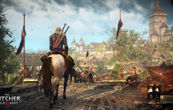 Картинка город, геральт, The Witcher 3: Wild Hunt, Ведьмак 3: Дикая Охота, плотва, новиград