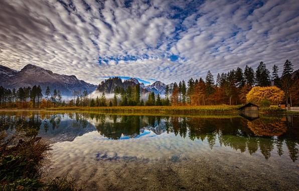 Картинка осень, лес, облака, горы, озеро, отражение, Австрия, Альпы, Austria, Alps, Upper Austria, Верхняя Австрия, Lake …