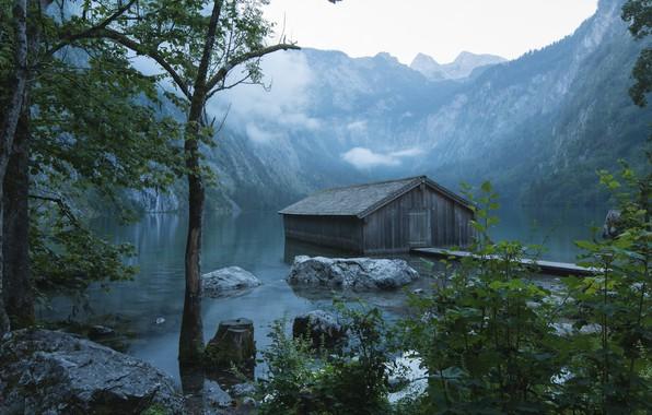 Картинка облака, пейзаж, горы, природа, туман, озеро, камни, Германия, Бавария, Альпы, сарай, Berchtesgaden, Берхтесгаден, Obersee, Оберзее