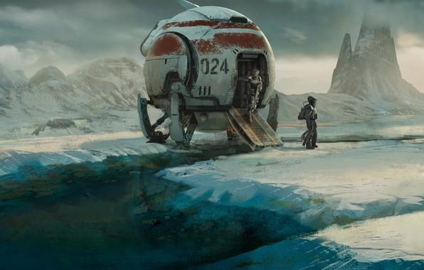 Обои planet, artwork, science fiction, spaceship, snow, space suit, digital art, fantasy art, mountains, sci-fi, Astronauts, ...