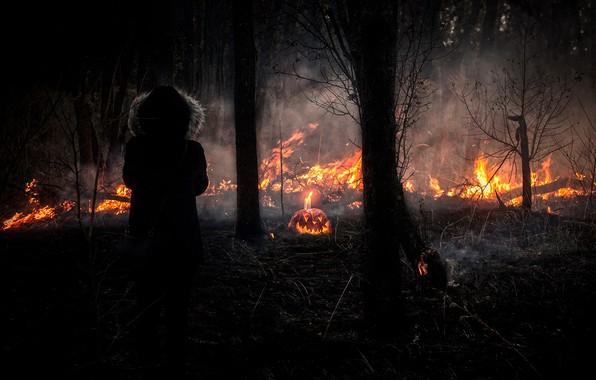 Картинка девушка, ночь, огонь, Halloween, тыква, Хэллоуин