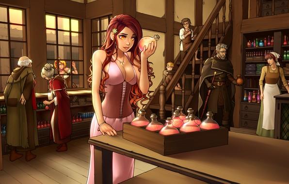 Картинка грудь, девушка, эльф, бутылка, платье, арт, красавица, рыжая, магазин, пузырек