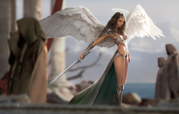 Картинка girl, sword, fantasy, armor, weapon, wings, Angel, elf, digital art, artwork, warrior, fantasy art, illustration, …