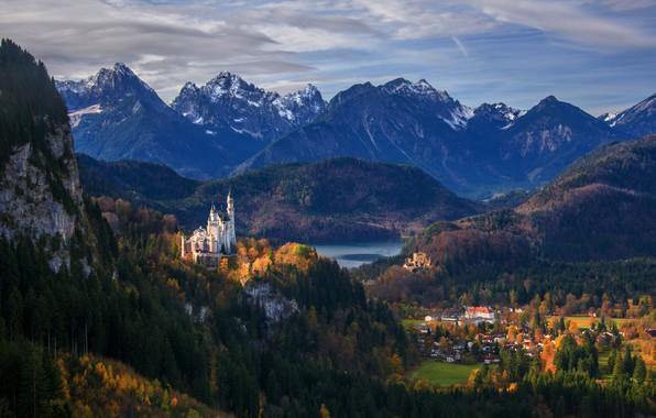 Картинка горы, замок, Германия, панорама