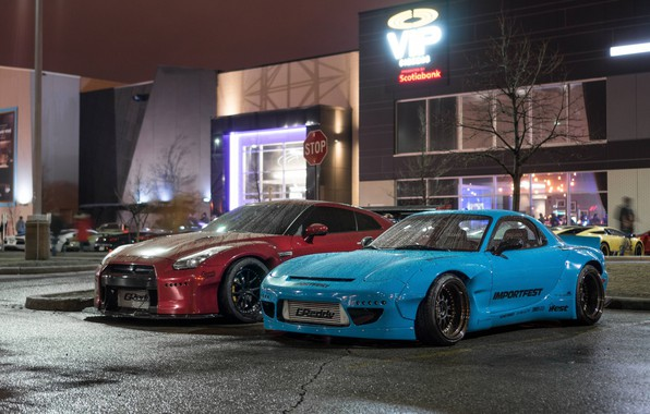 Картинка City, Mazda, Cars, Rain, RX-7, Nissan GT-R, Mazda RX-7 widebody