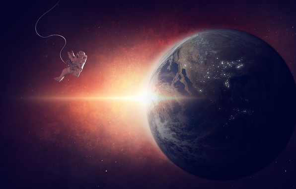 Картинка солнце, космос, лучи, планета, звёзды, скафандр, Земля, орбита, невесомость, астронавт