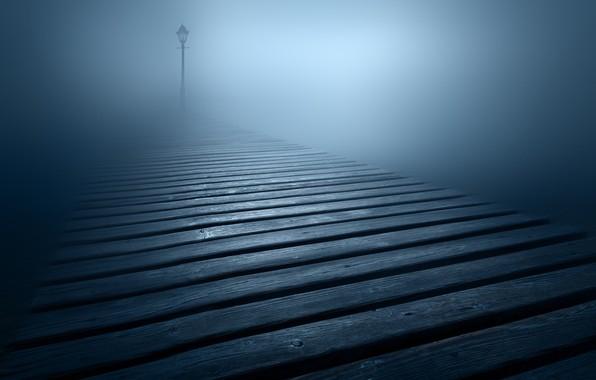 Картинка туман, фонарь, fog, lantern, настил, flooring, Luca Rebustini