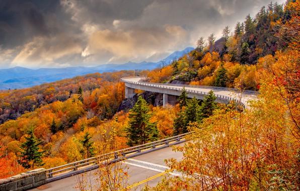 Картинка дорога, осень, пейзаж, горы, тучи, мост, природа, США, леса, виадук, Perry Hoag