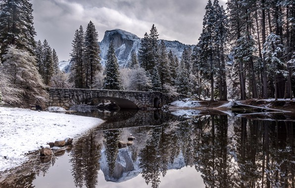 Картинка Nature, Winter, Landscape, Bridge, Snow, River, Trees