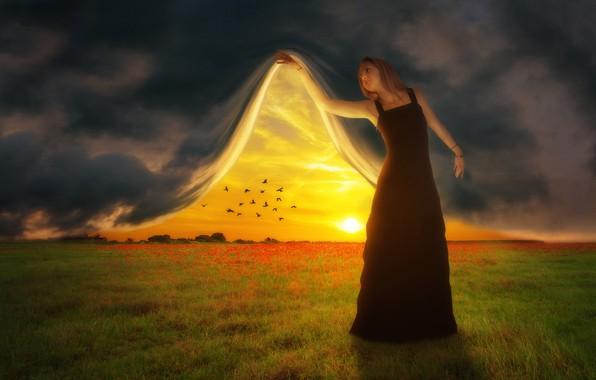 Картинка поле, небо, закат, птицы, фотошоп, занавес, девушка art