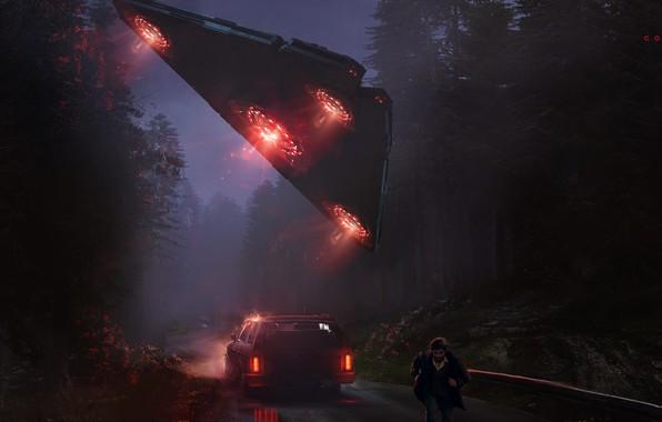 Картинка Авто, НЛО, Ночь, Человек, Машина, Car, Fantasy, Арт, Art, Космический Корабль, Фантастика, Concept Art, UFO, …
