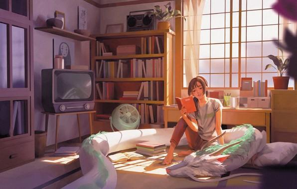 Картинка дракон, книги, вентилятор, телевизор, окно, девочка, на кровати, предметы, в комнате, чтение, Hayao Miyazaki, шкафы, …