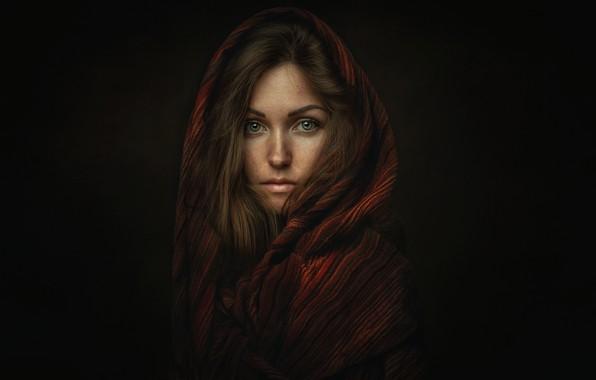 Картинка взгляд, девушка, портрет, шарф, платок, Оксана, Zachar Rise, Oksana