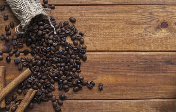 Картинка кофе, корица, wood, кофейные зёрна, мешочек