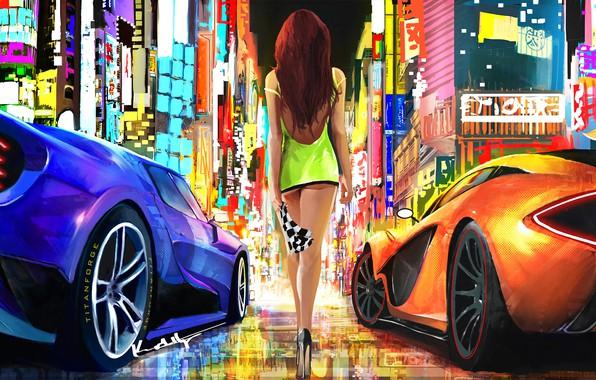 Обои city, lights, girl, fantasy, supercar, digital art, artwork, fantasy art, high heels, McLaren P1, minidress, …