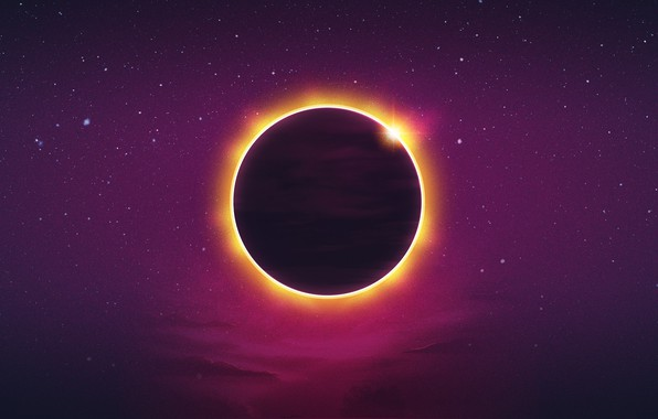 Картинка Солнце, Минимализм, Музыка, Звезды, Планета, Фон, Затмение, Synth, Retrowave, Synthwave, New Retro Wave, Futuresynth, Синтвейв, …