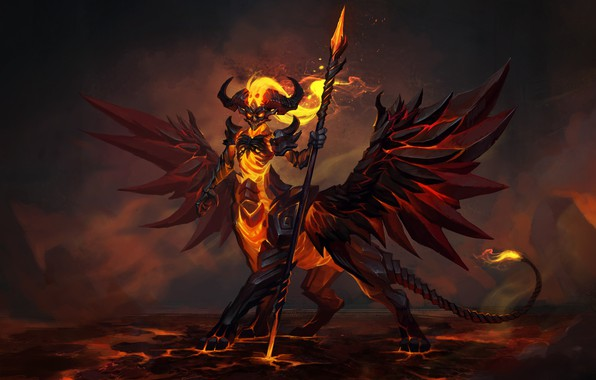 Картинка взгляд, огонь, демон, фэнтези, арт, лава, копье