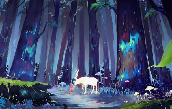 Картинка грибы, олень, девочка, рога, красное платье, друзья, тропинка, ребёнок, сказочный лес, в лесу, большие деревья