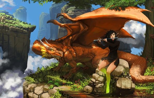 Картинка girl, fantasy, horns, sky, wings, clouds, rocks, tree, dragon, elf, digital art, artwork, fantasy art, …