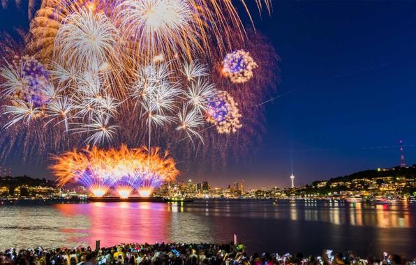 Картинка Сиэтл, США, День Независимости, 4-е июля, озеро Юнион