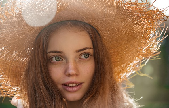 Картинка улыбка, Девушка, шляпа, веснушки, Юрий Семенов, Анна Панкова