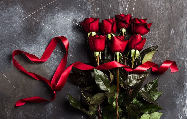 Картинка цветы, розы, букет, лента, flowers
