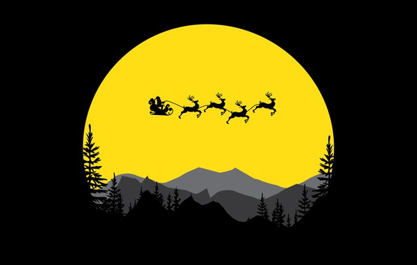 Картинка trees, minimalism, mountains, digital art, artwork, Santa Claus, deer, silhouette, simple background, sled