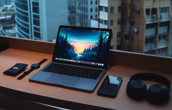 Картинка notebook, headphones, window, smartphone, desk, watches