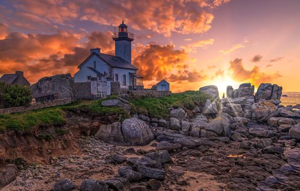 Картинка Sunset, France, Bretagne, Golden Hour, Pontusval lighthouse