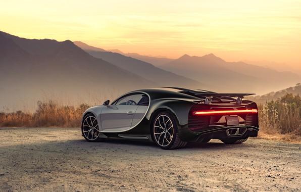 Картинка закат, вечер, Bugatti, суперкар, 2018, гиперкар, Chiron