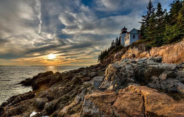 Картинка облака, деревья, пейзаж, закат, природа, камни, океан, скалы, побережье, маяк, ели, национальный парк, Акадия, Arcadia …