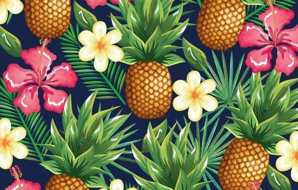 Картинка цветы, фон, ананас, flowers, pattern, pineapple, tropical, тропик, floral