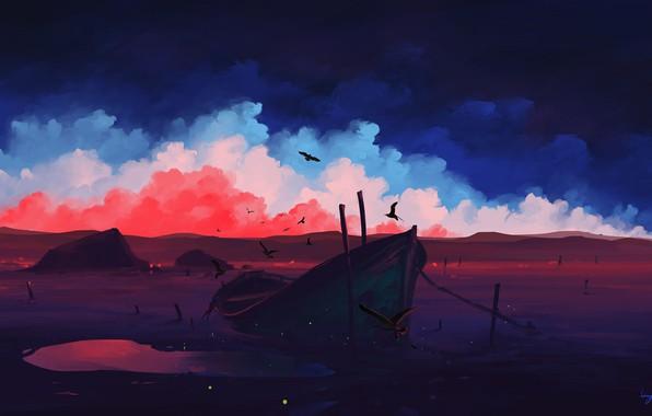 Картинка colorful, sky, landscape, nature, sunset, art, clouds, birds, evening, artist, digital art, artwork, boat, BisBiswas