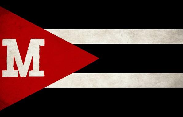 Картинка red, white, black, grunge, flag, State, Maverick