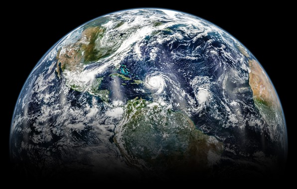 Картинка космос, планета, Земля, ураган, континенты