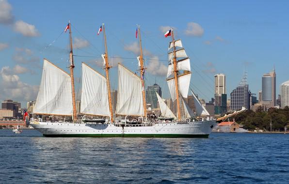 Картинка корабль, парусник, белые паруса